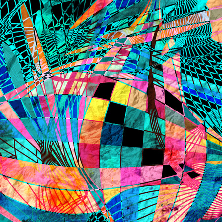 reiteration: Abstract colorful watercolor background with different elements Stock Photo