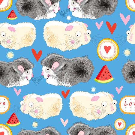 reproduce: Funny graphic pattern lovers hamster on a blue background