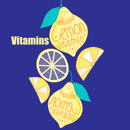 foodstuffs: Background with bright lemon and slices on a blue background Illustration