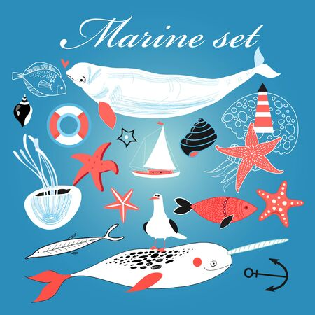 fine arts: Graphic Marine set of different elements on a blue background