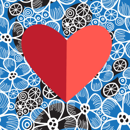 reiteration: Holiday card decorative heart on bright floral background