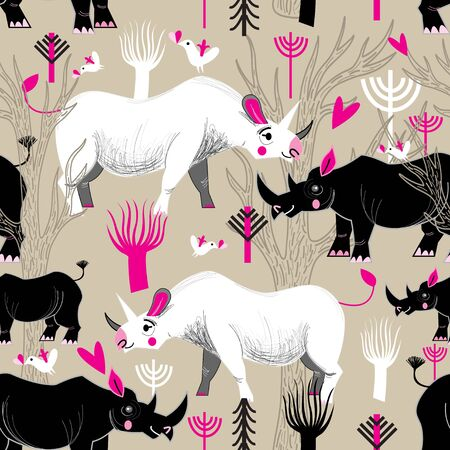 reiteration: Seamless graphic pattern of rhinoceroses lovers in the forest Illustration