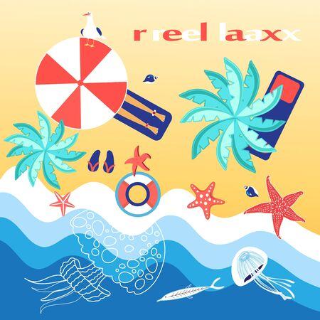 reiteration: Bright background with a sea coast and beach umbrellas, sea stars