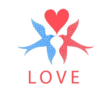 reiteration: Greeting card with birds in love on a white background