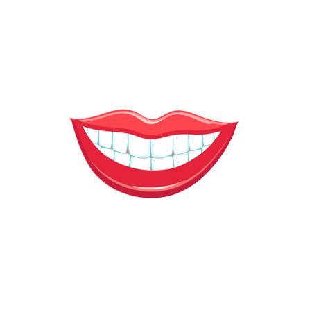 beautiful smile: Beautiful smile lips isolated on white background. Vector illustration