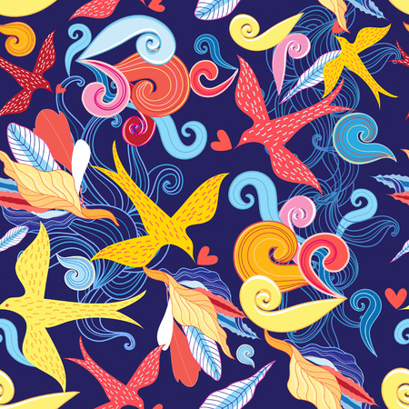 Graphic floral pattern with birds in love on a blue background Illustration