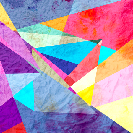 interesting: Abstract watercolor background with an interesting variety of geometric elements