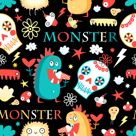Seamless jolly pattern with monsters and skulls on a dark background