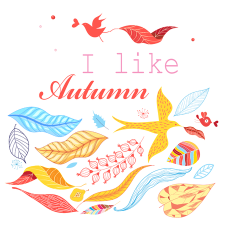 miracle leaf: Autumn beautiful vector background of colorful leaves and birds