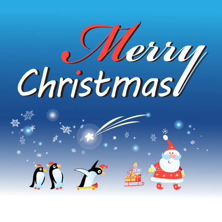 chapter: Bright Christmas card with Santa Claus and a penguin on a blue background