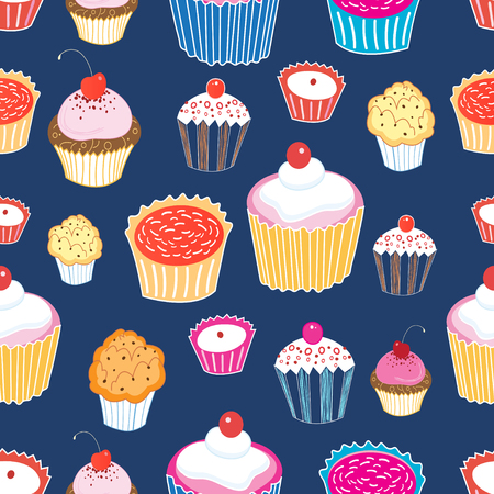 mixed wallpaper: Seamless graphic vector pattern of different cakes on a blue background