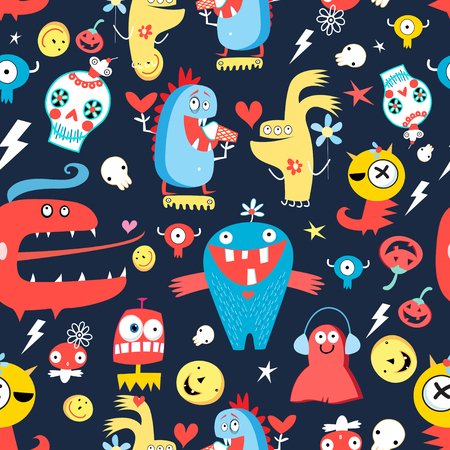 attern: Seamless jolly pattern with monsters and skulls on a dark background