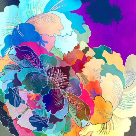 reiteration: Abstract colorful watercolor floral retro unusual pattern Stock Photo