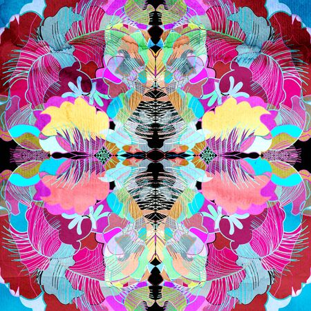 Abstract colorful watercolor floral retro unusual pattern Imagens