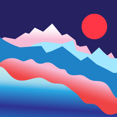 pink hills: Graphic vector mountain landscape with sun in the summer
