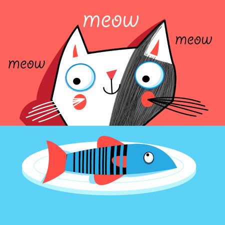 赤の背景に魚を子猫のグラフィックの肖像  イラスト・ベクター素材