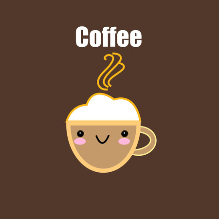 Funny vector coffee Cup on brown background
