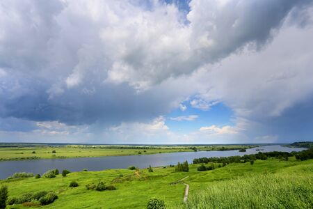 vistas: Beautiful summer photo Russian vistas to the river. The view from the top Stock Photo