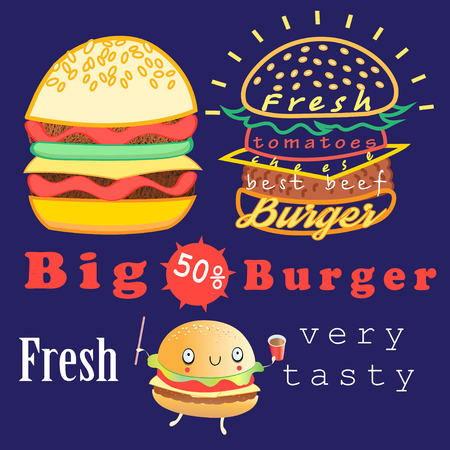 fresh food: Graphic advertising burgers bright on a dark background Illustration