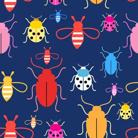 reiteration: Bright colorful graphics vector pattern with insects on a dark background