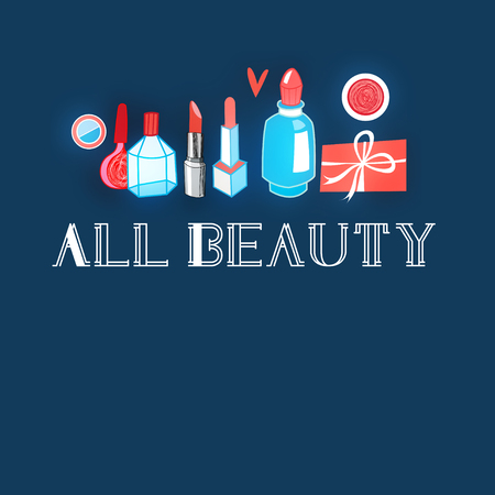circuit sale: Graphic Vector bright advertising different makeup on blue background