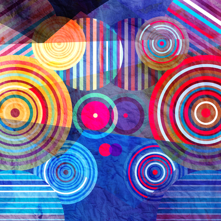 reiteration: Watercolor Retro abstract background with geometric circles Stock Photo