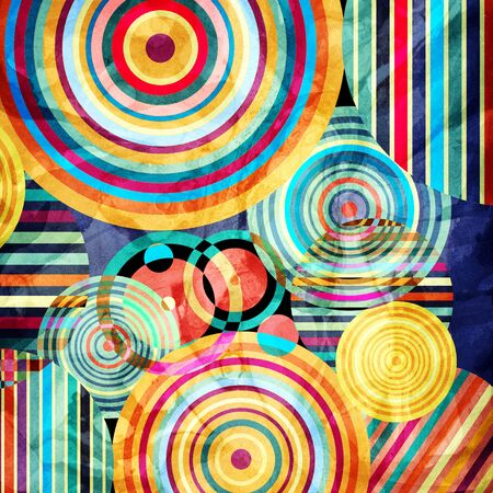 Watercolor Retro abstract background with geometric circles Banque d'images