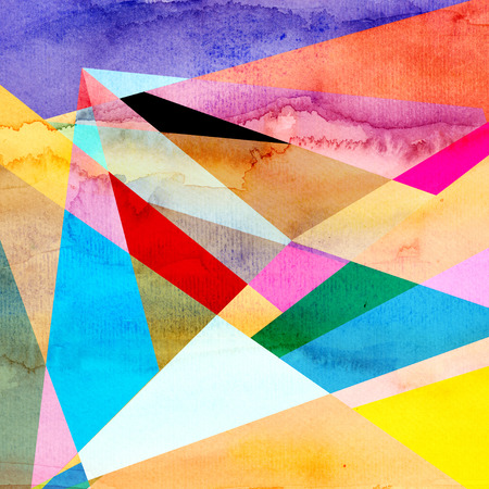 reiteration: Abstract watercolor background with an interesting variety of geometric elements
