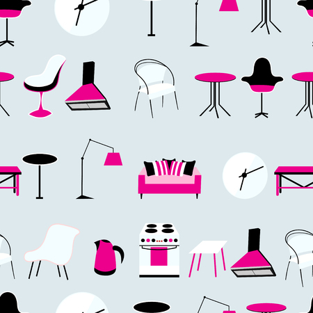 reiteration: Seamless graphic pattern of different furniture on a gray background Illustration