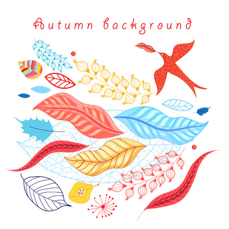 reiteration: Colorful autumn background with leaves and birds