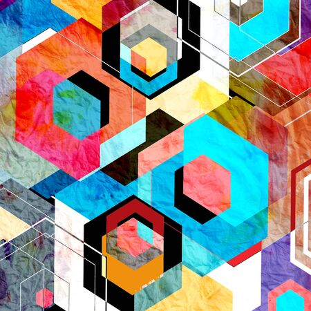 Multicolored geometric watercolor background with different diamonds