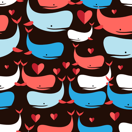 reproduce: Graphics seamless pattern Lovers whales on a black background Illustration