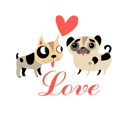 Lovers graphics funny puppies on a white background