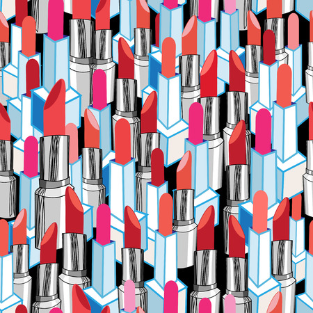 Seamless graphic pattern graphic colorful lipstick on a dark background