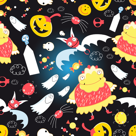 multiplicar: Seamless bright pattern with different characters for Halloween Vectores