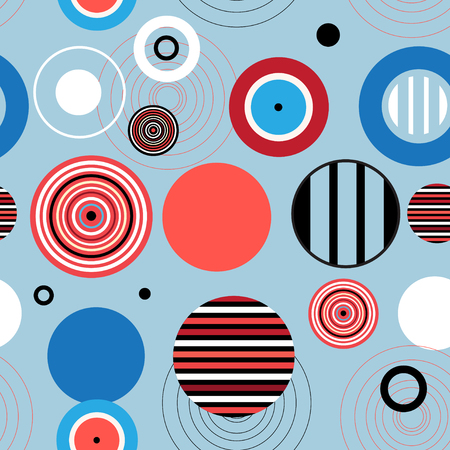 reiteration: Abstract seamless pattern of various circles on blue Illustration