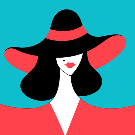 Graphic portrait of a beautiful lady in the hat for the beauty salon