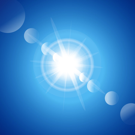 first miracle: Vector illustration. Blue shining a bright light abstract background
