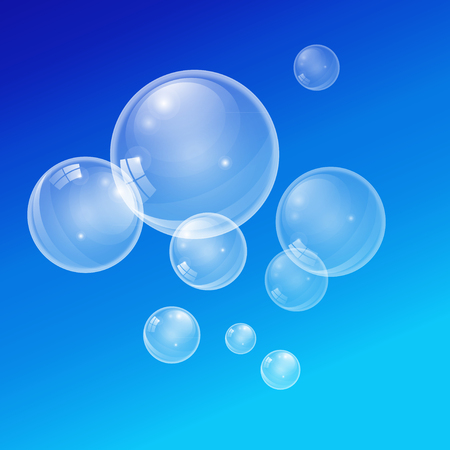 buff: Graphic vector transparent bubbles on a blue background. For layout of brochures, design flyers, cover pattern poster wallpaper, etc.