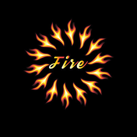 abstract element of fire on a black background with an inscription Illustration