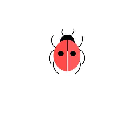 Graphic icon ladybird on a white background for design