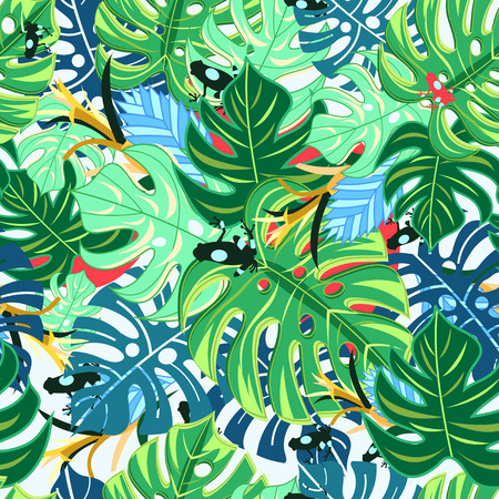 reiteration: Graphic pattern with bright leaves monstera and frogs on a light background Illustration