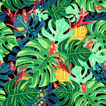 Seamless graphic pattern with leaves monstera and frogs on a dark background Illustration