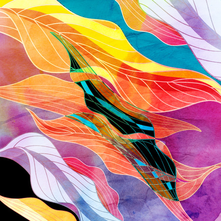 brush painting: Abstract watercolor background with various colored elements fantastic