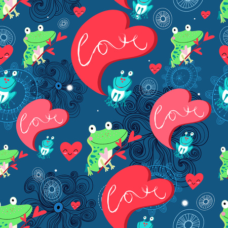 Seamless graphic pattern with frog lovers and hearts on a blue background