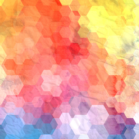 Watercolor abstract colorful background with fantastic polygons elements. Background for design template.