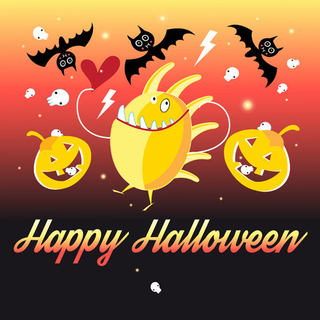 Bright fun card with monsters and pumpkins on a fiery background