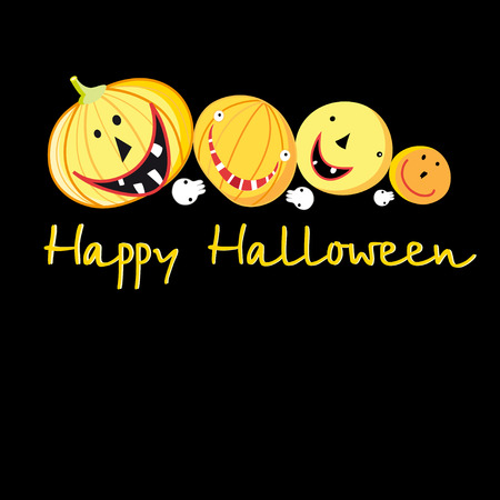 Greeting card with a cheerful pumpkins for Halloween on a dark background