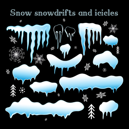 snowdrifts: illustration. Snow snowdrifts and icicles collection for design.