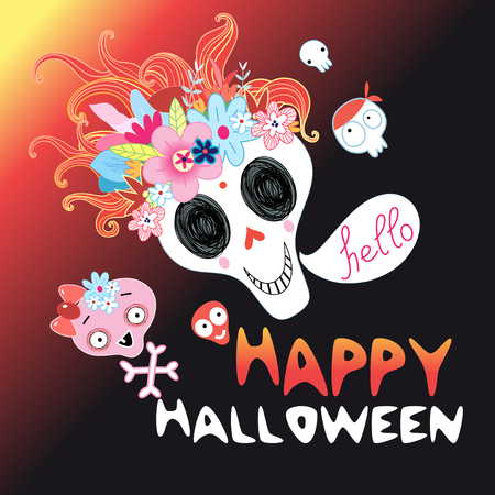 Funny Halloween skull on a dark background Векторная Иллюстрация